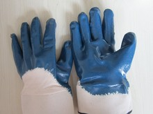 Blue nitrile safety gloves with safety cuff