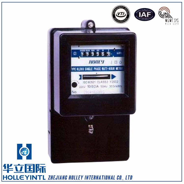 Unidirectional jumping type register or reverse running stopper is available upon request Electromechanical Watt Hour Meter