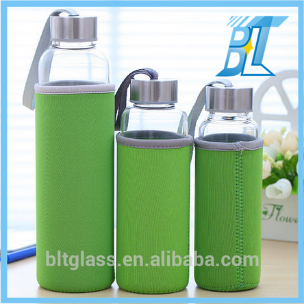 Wholesale clear water drinking sport glass bottle with screw cap 300ml 400ml 500ml