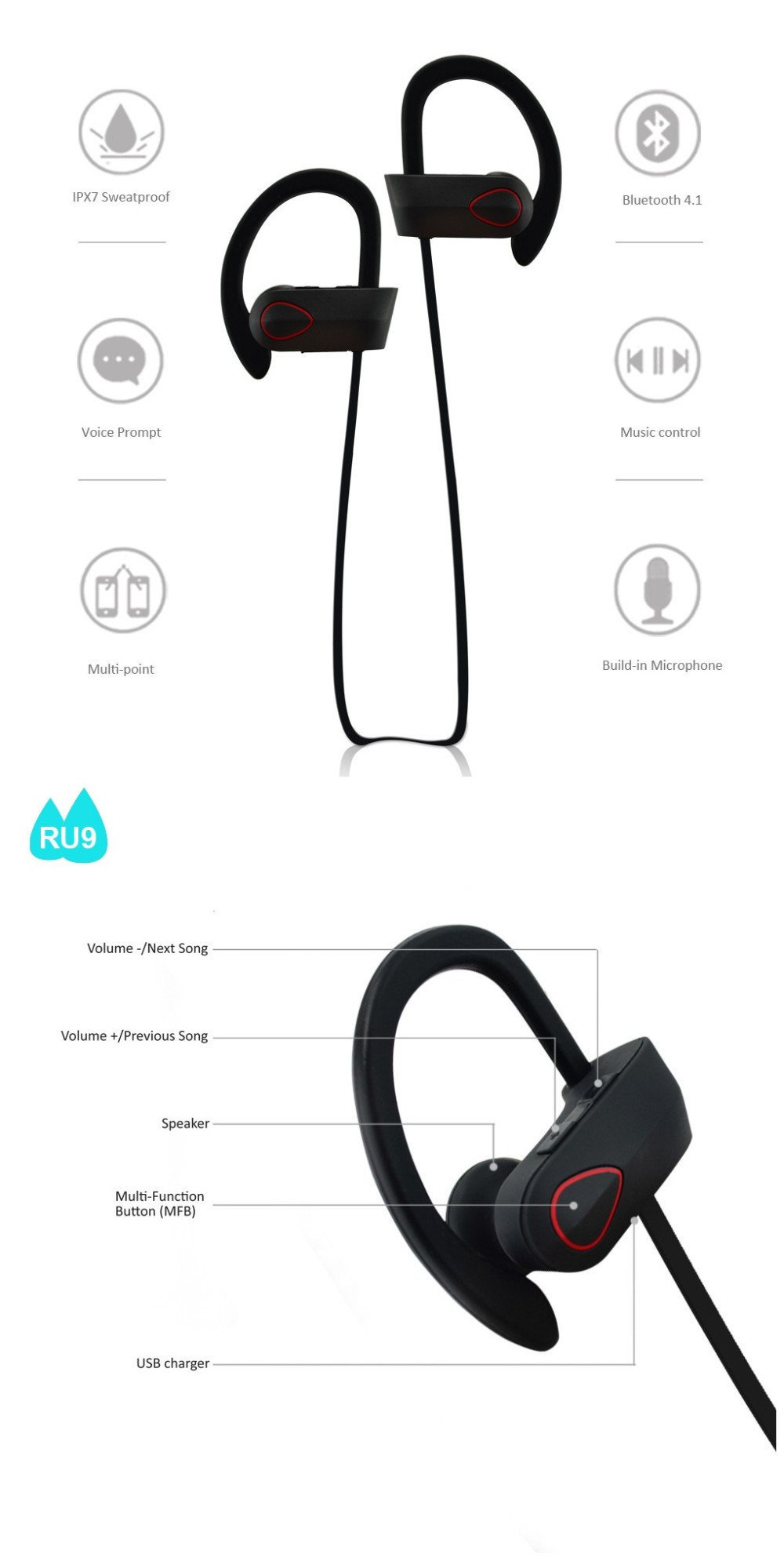 Amazon best seller senso IPX7 waterproof bluetooth 4.1 wireless stereo mobile headphone stereo bluetooth headset RU9