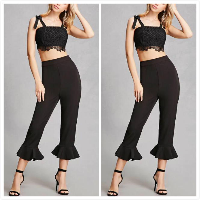 Dark bell bottom trousers cutting lady pants