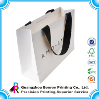 factory custom shipping paper bag with ribbon handle