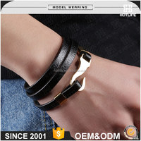 High-End Charm Design 316L Stainless Steel Plating European Leather Bracelets And Charms For Sale