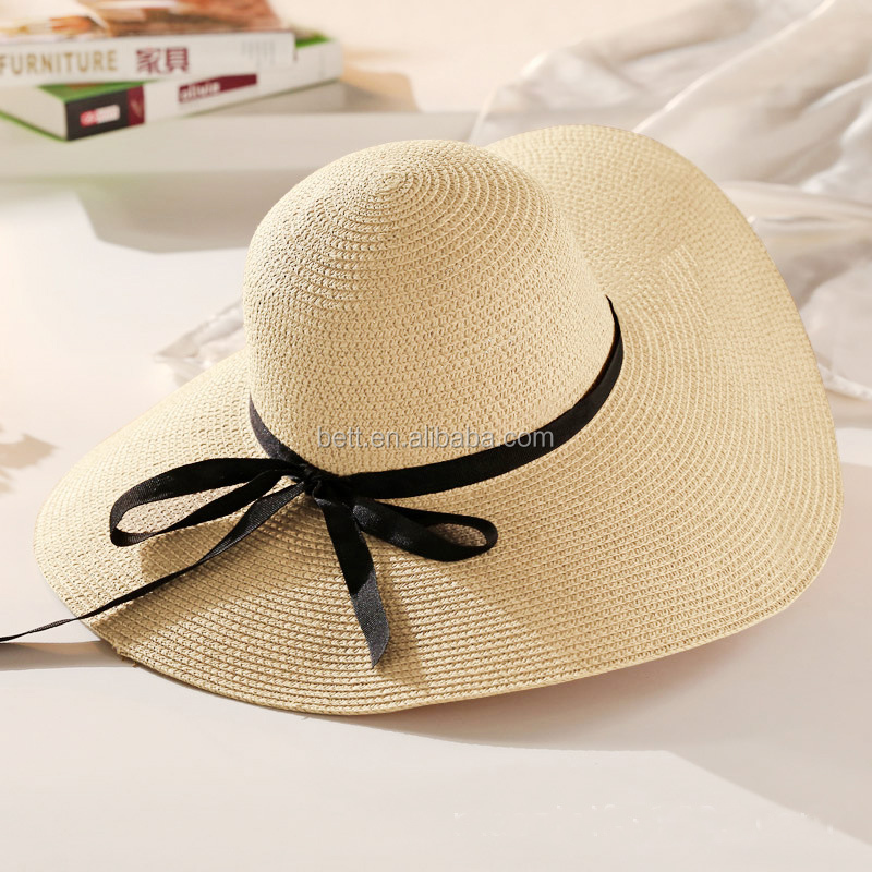 hot selling check paper straw hat custom lady summer beach hat with bowknot