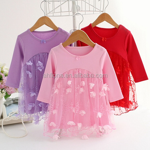 F40666A Korean style long sleeve beautiful flowers baby frock designs