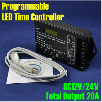 NEW DC12V/24V 5Channel Total Output 20A Common Anode Programmable LED Time Controller