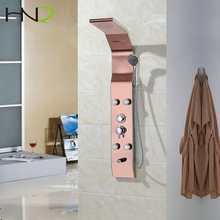 hot sale pink gold rain shower room set high quality faucet shower panel