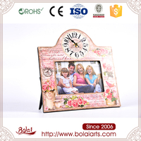 Lovely design fancy pink flower cheap christmas photo frame with clock