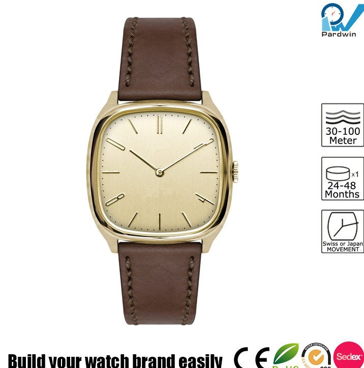 Distinct square case 2 hands japan movement PVD gold case stainless steel vintage watch