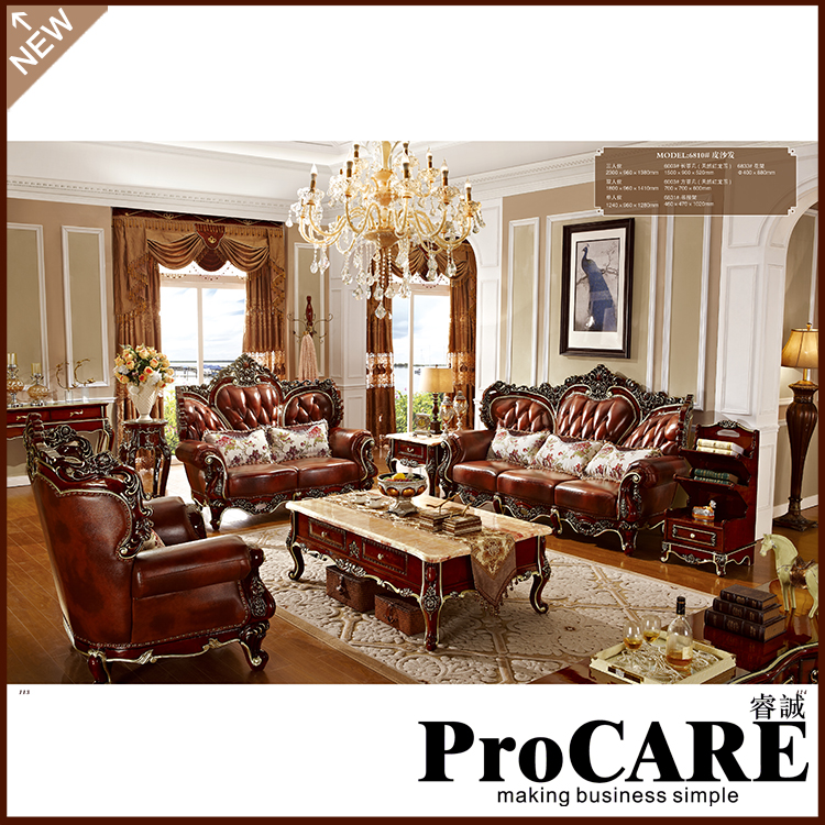 US $4577.0 |luxury European style classic three seat leather living room  sofa set 1+2+3 for big house-in Living Room Sofas from Furniture on ...