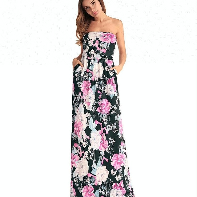 A3642 Sexy women dress strapless sleeveless summer long dress 2018 new floral print beach hawaii maxi dress