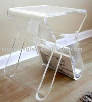 Acrylic end Table/Coffee Table, Clear Acrylic Side Table With Magazine Rack