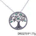 Latest Styles Wholesale CZ Charm Tree of life Sterling Silver Pendant DR032751P