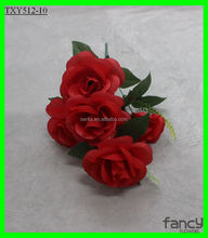 6 heads artificial plastic rose flowers 1500 Pieces In Stock Now For Promotion