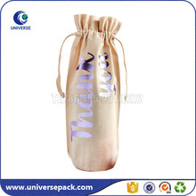 Recyclable Eco Drawstring Fabric Wine Bottle Gift Bag With Custom logo