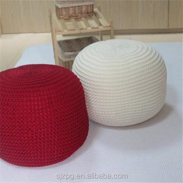 Hand knitted pouf ottoman round acrylic pouf stools