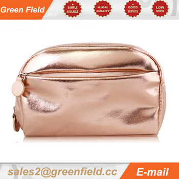 Leather cosmetic bag, Champagne leather cosmetic bag with compartment