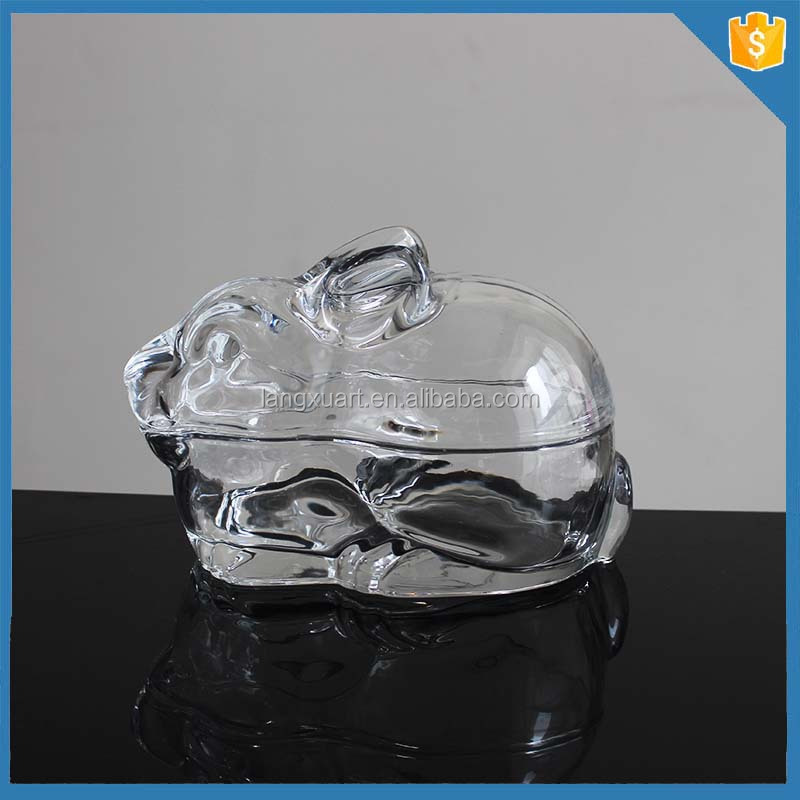 Big crystal rabbit shape glass animal shaped containers