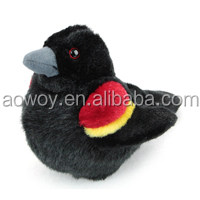 stuffed red winged black bird plush lifelike custom logo printed gift top quality animal soft toys red winged black bird 171