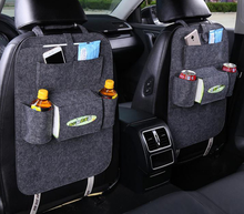 Seat back organizer multi-pocket storage solution reduces clutter in cars tissue box design