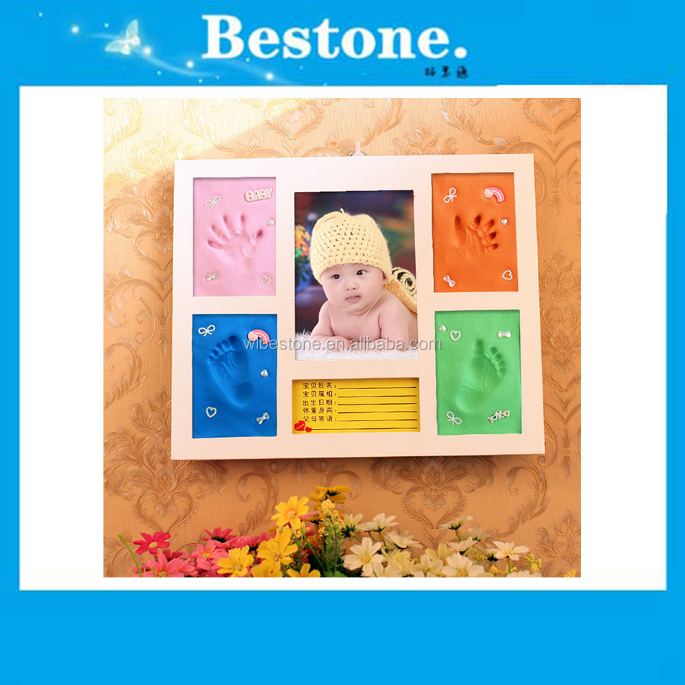 baby handprint and footprint kit air dry keepsake clay wood collage photo frame