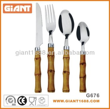 Bamboo Shape Cutlery with Plastic Handle