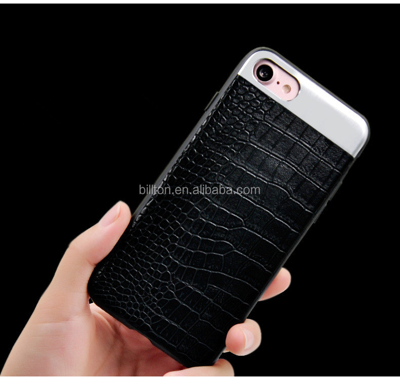 2017 crocodile pattern leather phone case for iphone 7 7plus metal+pc for iphone 6 6 plus cover case