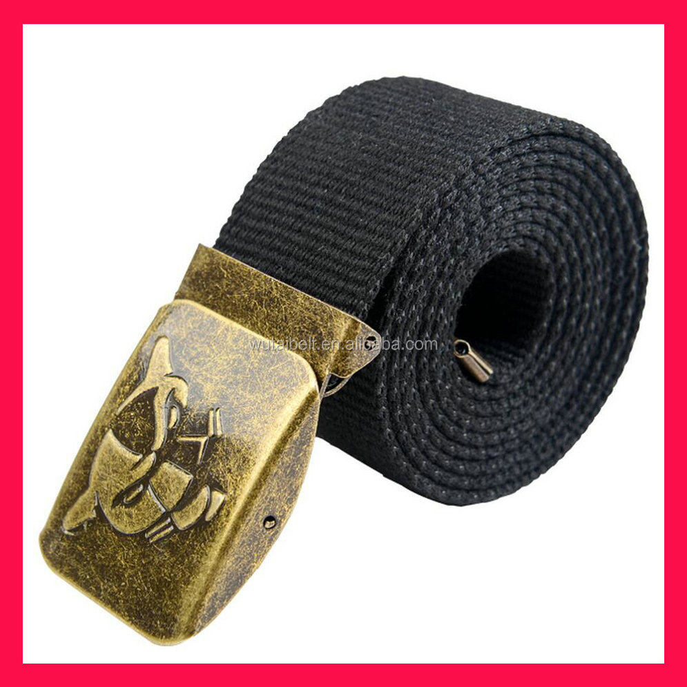 black custom embossed debosssed LOGO polyester nylon canvas webbing belt