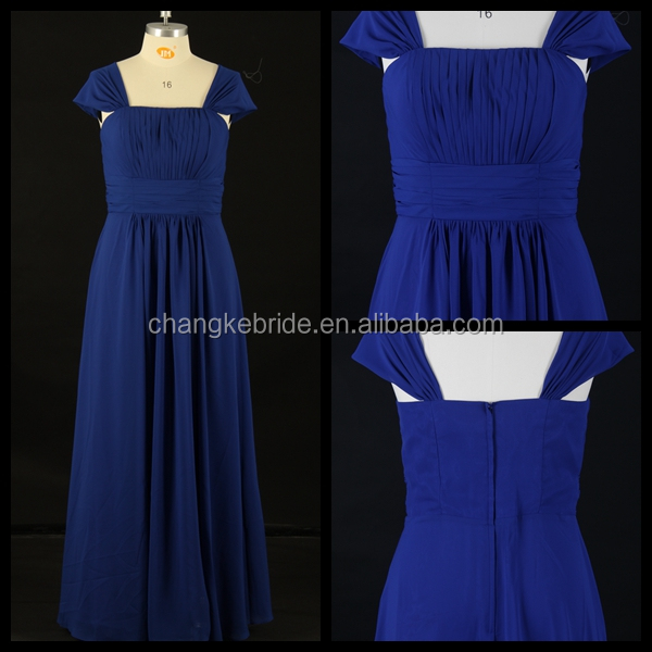 Cap Sleeve Cowl Neck Long Chiffon Bridesmaid Dress Pleats Party Dress
