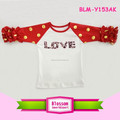 Valentine's Day toddler baby girl knit cotton 3/4 sleeves raglan ruffle shirt American baseball icing ruffle raglan
