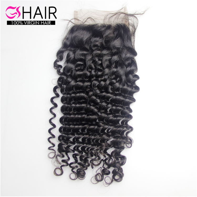 thick deep curly 4x4 lace closure factory outlet human hair extension