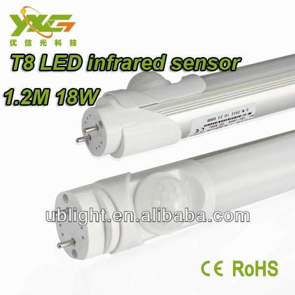 CE&RoHS 1600lm,1.2M 18W led light lamp pir auto sensor motion detector
