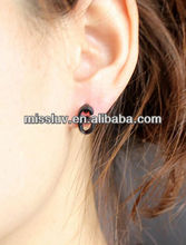 hot selling fashion jewelry black number 6 stud korea earrings,set of silver number stick earrings collection