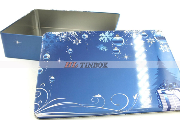 Christmas Gift Box Packaging Rectangular Metal Tin Box