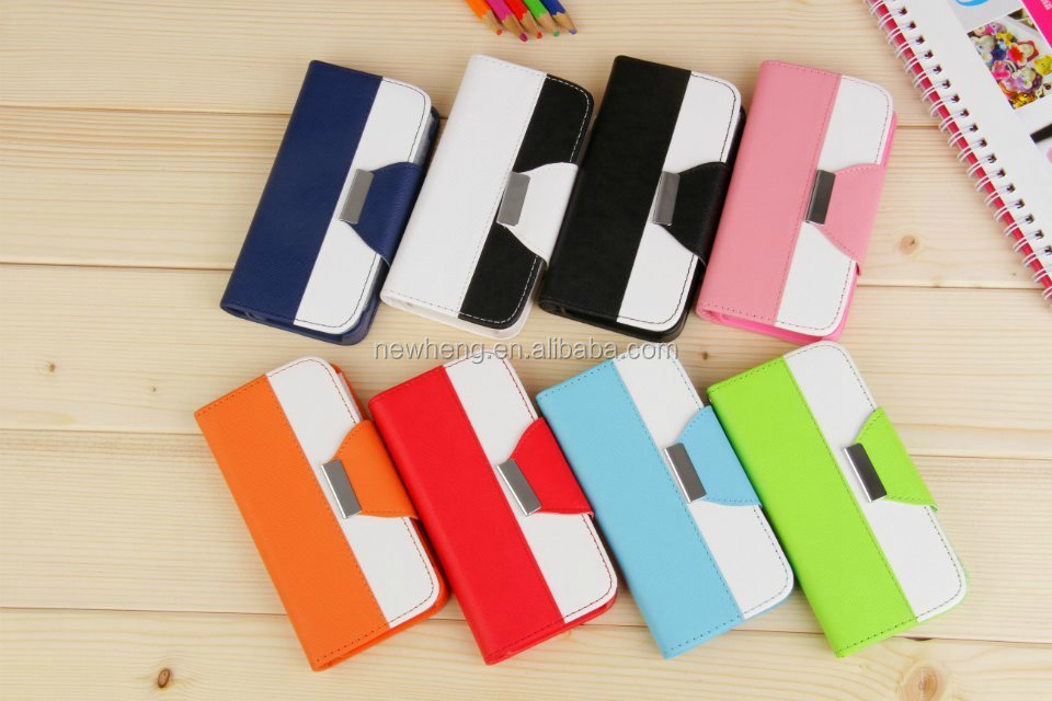 Flip Protective Wallet Cover Dual Color Leather Case for Samsung Galaxy S4 i9500