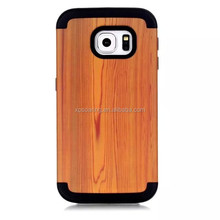 For Galaxy S6 Edge Wooden design Hybrid case shell cover