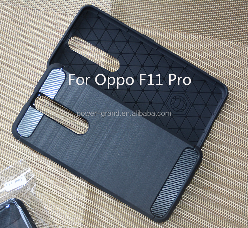 Wire drawing Shockproof Soft carbon fiber TPU phone case cover for Oppo F11 Pro