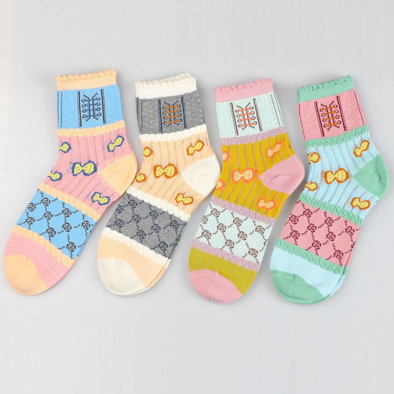 Modern style simple design soft women ankle socks