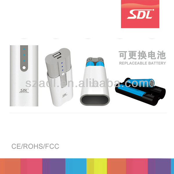 Hot detachable power bank, with retractable battery for replacement