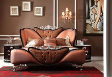 Neoclassic design double bed solid wood bed with polishing leather convex carve flower AK-7073