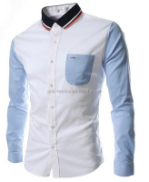 latest wholesale mens polyester button down collar shirt with chest pocket