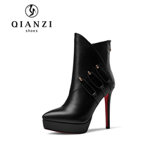 8632 Verified gold supplier leather black shoes ankle boots for women
