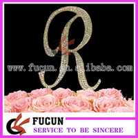 China Wholesale Gold Or Silver Frozen Wedding Favors Letter Rhinestone Cake Toppers