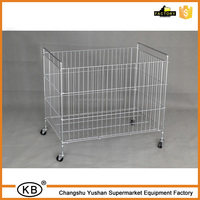 Factory steel wire storage plating metal cage with wheels