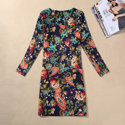 DW018 Hot style Europe Classic printing autumn dress long sleeve large size lady dresses wholesale