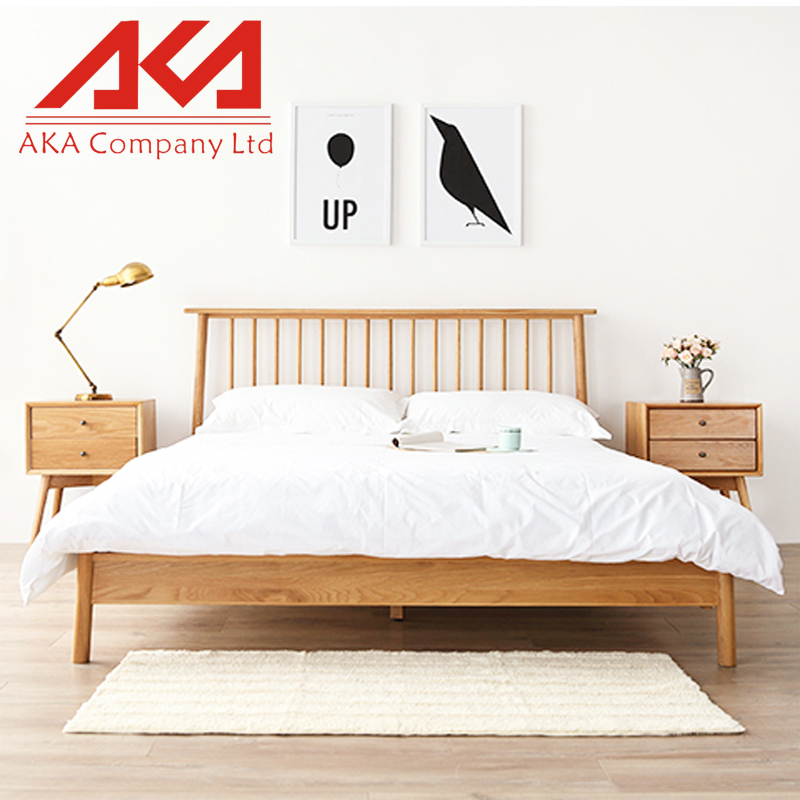 Home Furniture Natural Modern Simple Elegant Wood Plank Bed
