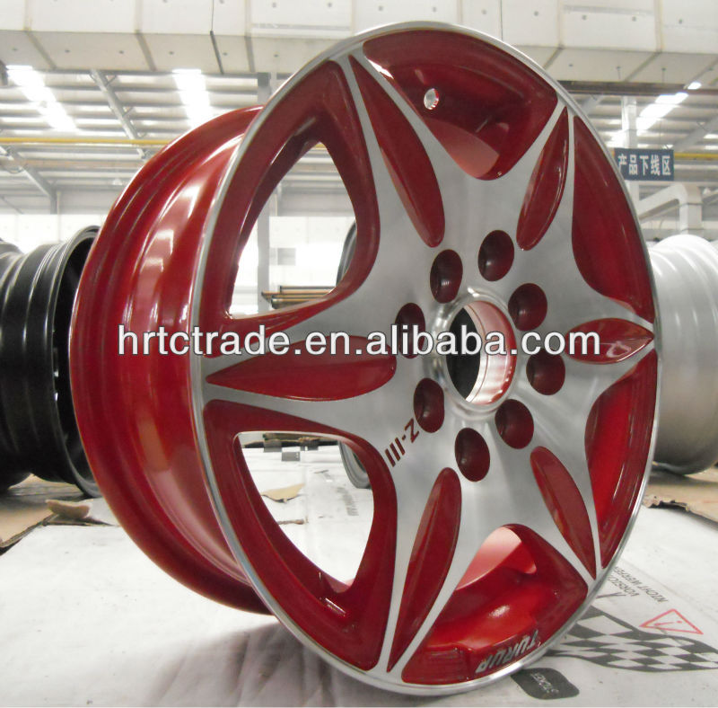 Machine face red alloy car wheels
