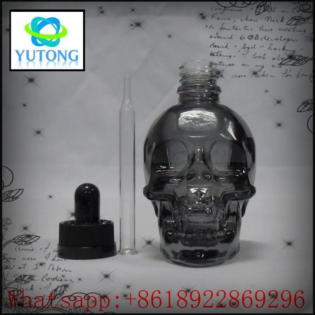 Low price dual channel empty skull bottle 15ml dropper glass childpoof cap 30ml high pressure cleaning machine