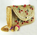 Delicate Cherry Embroidery Wheat Straw Shoulder Bag