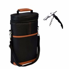 Wine Insulated Tote Bag, 2 Bottle Wine /Beer Cooler Carrier Case with Shoulder Strap + Free Corkscrew for Picnic and Travel